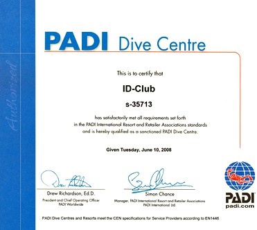 Certificate PADI Center S-35713 to 2009